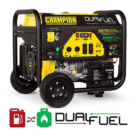 Champion Power Equipment 7,500-Watt Dual Fuel Portable Generator with Electric Start, 100296