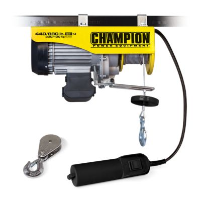 champion power equipment 440/880-lb  automatic electric hoist with remote  control