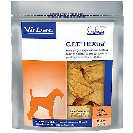C.E.T. HEXtra Premium Chews for Dogs, Medium, 30 ct
