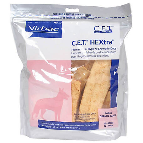 C.E.T. HEXtra Premium Chews for Dogs, Large, 30 ct