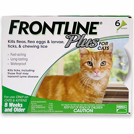 Frontline Plus Flea & Tick for Cats and Kittens, 8 Weeks or Older, 6 Month
