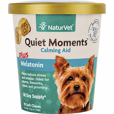 NaturVet Quiet Moments Calming Aid Plus Melatonin Soft Chews for Dogs, 70 Count