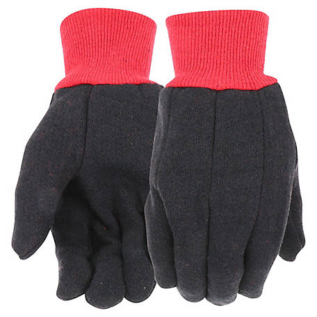 West Chester Men's Red Fleece Lined Brown Jersey Gloves, Pack of 3