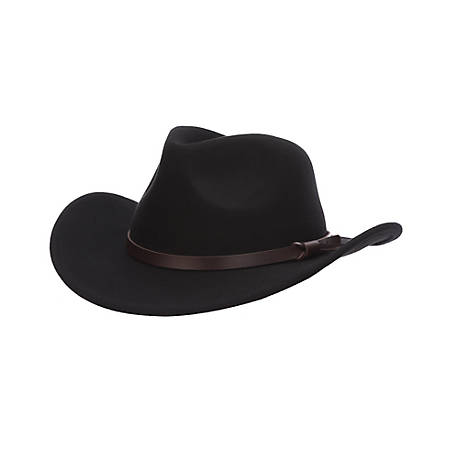 Dorfman Pacific Wool Felt Outback Hat with Leather Trim