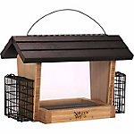 Nature's Way Bamboo 6 qt. Hopper Feeder with Suet Cages