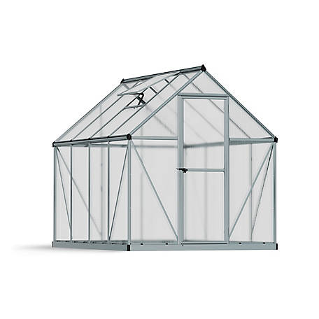 Palram Mythos Silver Series 6 ft. x 8 ft. Hobby Greenhouse, Silver