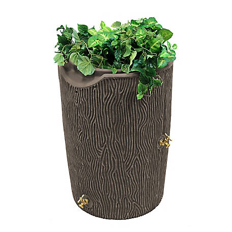 Good Ideas Impressions 50 gal. Bark Rain Saver, Oak, 23 in. x 34 in.