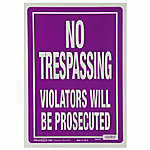 The Hillman Group 10 in. x 14 in. No Trespassing Sign, Purple