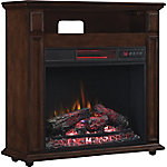 ClassicFlame Rolling Mantel with Infrared Quartz Electric Fireplace, Walnut Brown