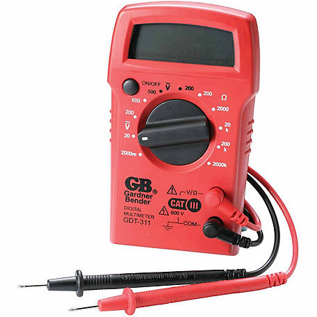Gardner Bender Digital Multimeter, 3 Function, 11 Range, Tests AC/DC Voltage & Resistance