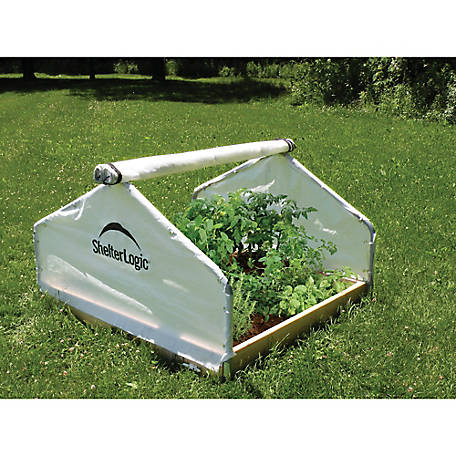 ShelterLogic GrowIt Backyard Raised Bed Greenhouse, 4 ft. x 4 ft. x 2-2/7 ft., Peak Style