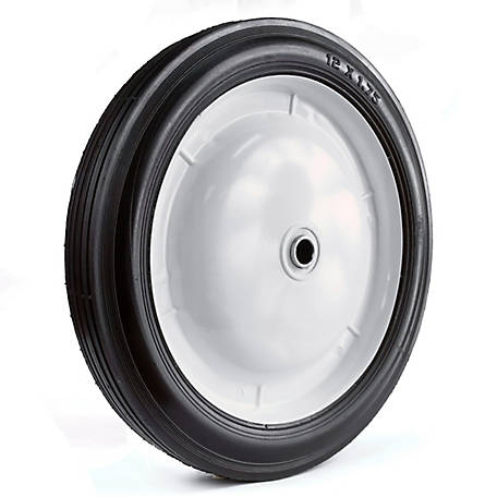 Martin Wheel 12X1.75 Light-Duty Steel Wheel, 1/2 in. BB, 2-1/4 in. Centered Hub, Rib Tread