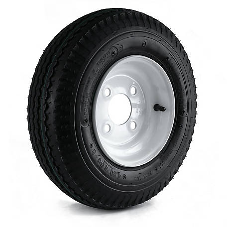 Kenda Loadstar Trailer Tire and 4-Hole Wheel (4/4), 480/400-8 LRC