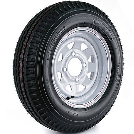 Kenda Loadstar Trailer Tire and 4-Hole Custom Spoke Wheel (4/4), 530-12 LRB
