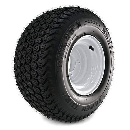 Kenda K500 Super Turf 18X850-8 Tire Mounted On 8x7, 4 Hole White Wheel (4/4), 858GK4W-4TFK