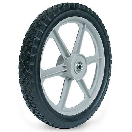 Martin Wheel 14x1.75 Plastic Spoke Semi-Pneumatic Wheel, 1/2 in. BB, 2-3/8 in. Centered Hub, Diamond Tread