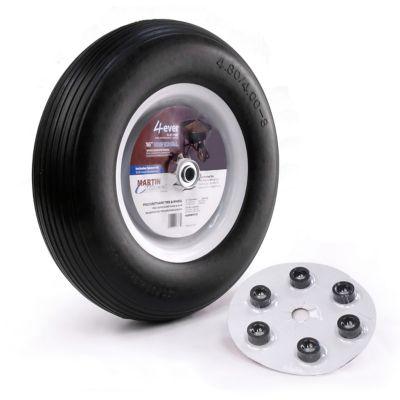Martin Wheel 480/400-8 16 in. Flat Free Wheelbarrow and Garden Cart Wheel with Universal Hub; 3/4 in. Ball Bearing
