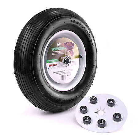 Martin Wheel 480/400-8 16 in. Wheelbarrow and Garden Cart Wheel with Universal Hub, 5/8 in. Ball Bearing