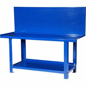steel workbench with pegboard backwall
