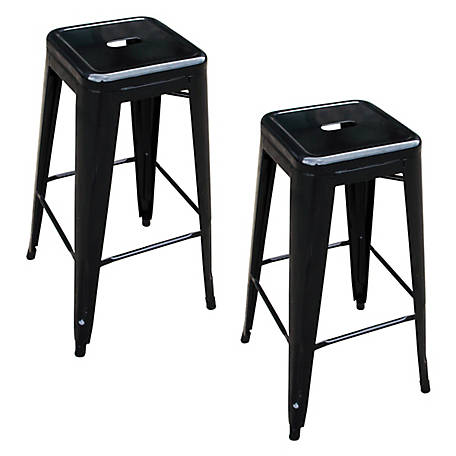 AmeriHome Loft Black Metal Bar Stool, 2 Piece