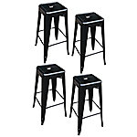 AmeriHome Loft Black Metal Bar Stool, 4 Piece