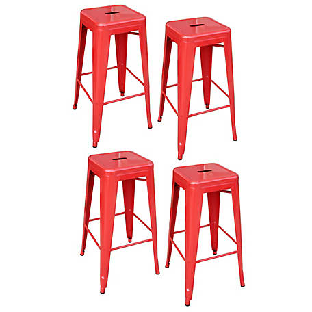 AmeriHome Loft Red Metal Bar Stool, 4 Piece
