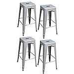 AmeriHome Loft Silver Metal Bar Stool, 4 Piece