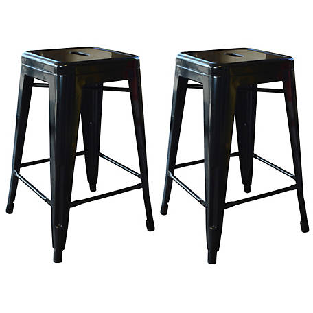 AmeriHome 24 in. Black Metal Bar Stool, 2 Piece