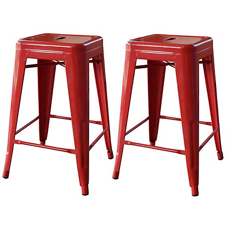 AmeriHome 24 in. Red Metal Bar Stool, 2 Piece, BS24RED
