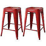 AmeriHome 24 in. Red Metal Bar Stool, 2 Piece