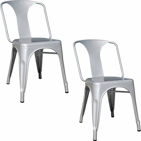 AmeriHome Loft Silver Metal Dining Chair, 2 Piece