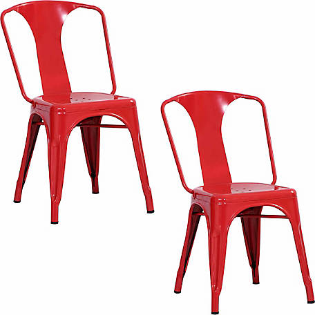 AmeriHome Loft Red Metal Dining Chair, 2 Piece