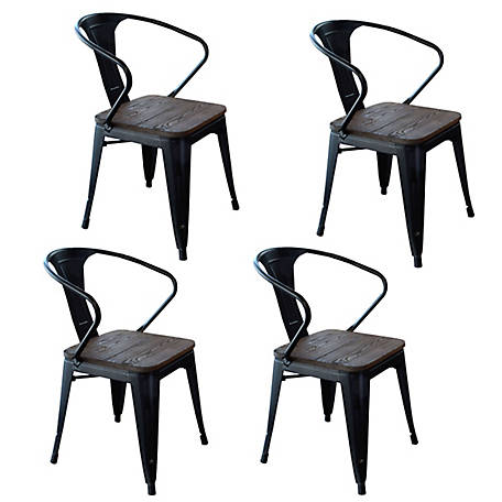 AmeriHome Loft Black Metal Dining Chair with Wood Seat, 4 Piece, DCHAIRBWT