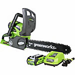 Greenworks 20262 G-MAX 40V 12 in. Cordless Chainsaw Includes 2Ah Battery and Charger