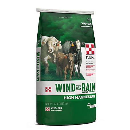 Purina Wind & Rain High Magnesium 4 Complete Cattle Mineral, 50 lb. Bag