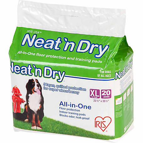 IRIS USA Neat 'n Dry Floor Protection and Training Pads for Puppies and Dogs of All Ages, Extra Large, Pack of 20