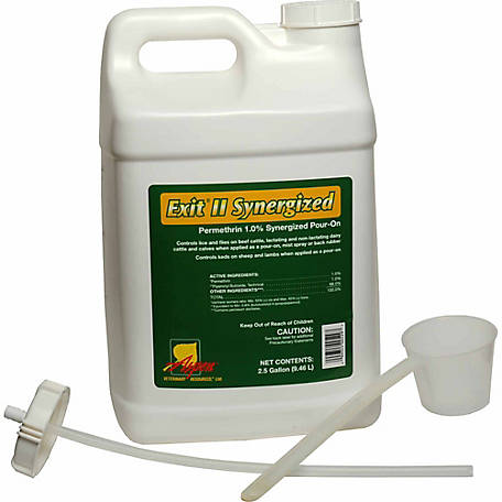 Animal Health International Exit II Permethrin 1.0% Synergized Pour-On, 2-1/2 gal.