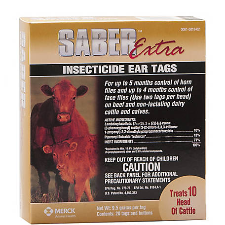 Merck Saber Extra Insecticide Ear Tag, Pack of 20