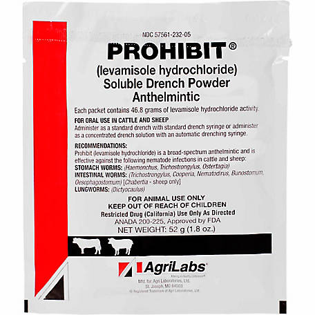 AgriLabs Prohibit Soluble Drench Powder (Levamisole), 52 Gm