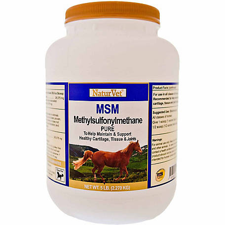 NaturVet MSM (Methylsulfonylmethane) Pure Powder for Horses, 5 lb.