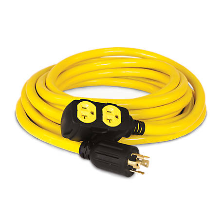 Champion Power Equipment 25 Ft 30 Amp 125 250 Volt Duplex Style Generator Extension Cord L14 30p To Four 5 20r 48033 At Tractor Supply Co