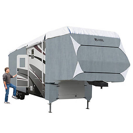Classic Accessories Polypro 3 5th Wheel RV Cover, Grey and Snow White, 24 in. x 106-1/2 in. x 318 in.