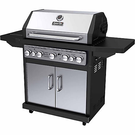 Dyna-Glo 5 Burner Propane Gas Grill with Side Burner, DGA550SSP-D