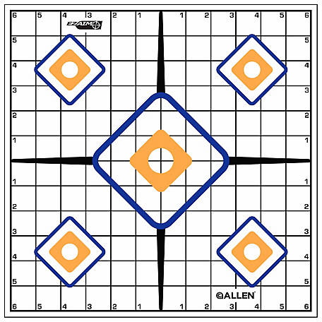 Allen EZ-Aim Sight Grid Target, 12 in. x 12 in., Pack of 12, 15203