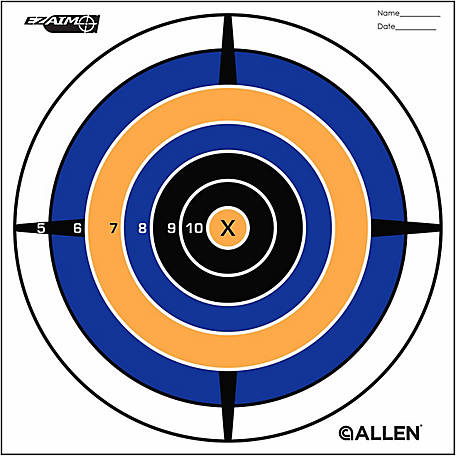 Allen EZ Aim Bullseye Target, 8 in. x 8 in., Pack of 12