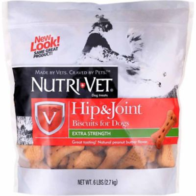 Buy Nutri-Vet Hip & Joint Extra Strength Peanut Butter Biscuits for Large Dogs; 6 lb. Online