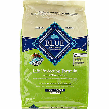 Blue Buffalo Life Protection Small Breed Natural Lamb & Brown Rice Recipe Adult Dog Food, 15 lb. Bag