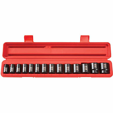 TEKTON 1/2 in. dr. Shallow Impact Socket Set, 11-32mm, 6-Point, CR-V