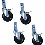 Pro-Series Heavy-Duty 5 in. Hard Rubber Locking Caster, Pack of 4