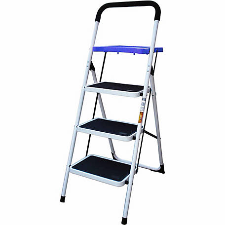 AmeriHome Three Step Utility Stool with Utility Tray